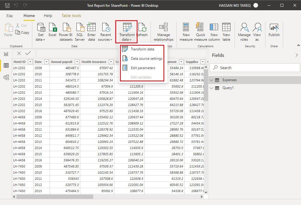 Power BI Desktop transform data Step 1